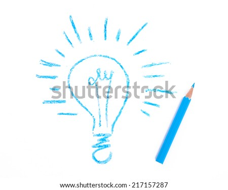 painted lamp and pencil, isolated