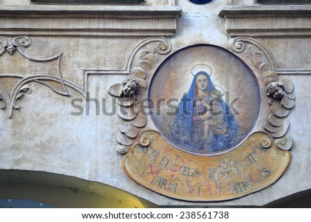 Painted medallion on a building from the Old Town of Prague, Czech Republic - stock photo