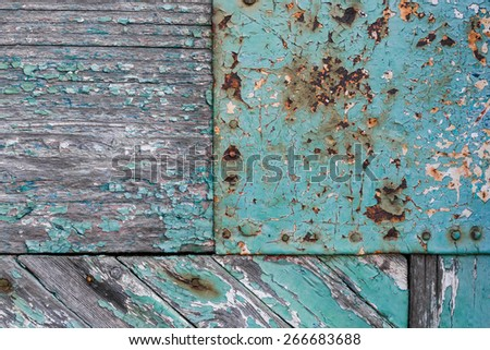 Painted metal and wood - stock photo