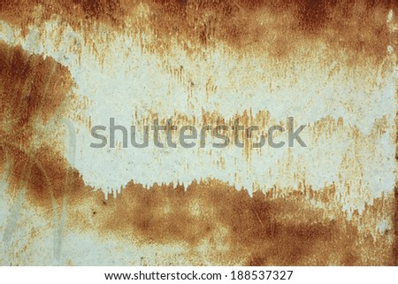 Painted metal surface with rusty stains as a texture