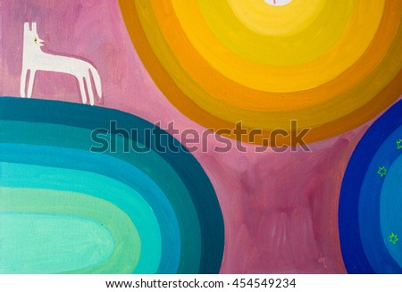 painted oil painting is called green yellow blue ellipses, man, tree, dog - stock photo