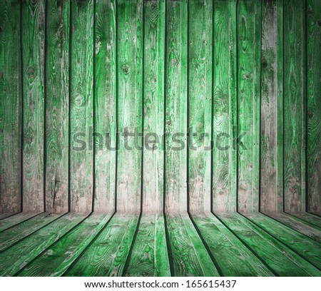 painted old wooden wall. green room