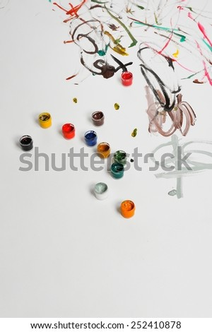 Painted paper in different colors. Artistic or creative concept. - stock photo