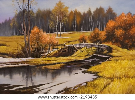 painted picture about autumn