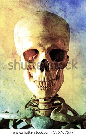 Painted Portrait od a Skeleton