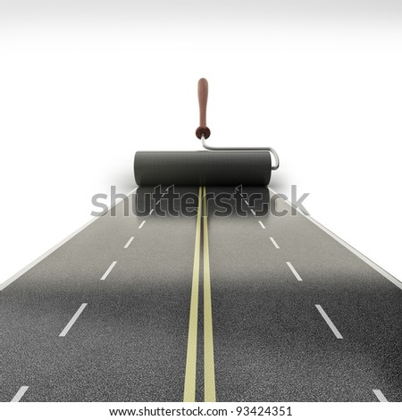 painted road isolated on white background High resolution 3D