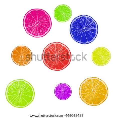 painted slices oranges over white