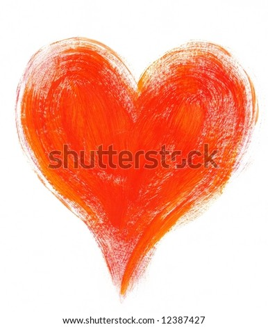 Painted textured valentine heart in orange and red on white background.Art is created and painted by photographer. - stock photo