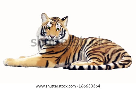 Painted tiger in an imaginary jungle