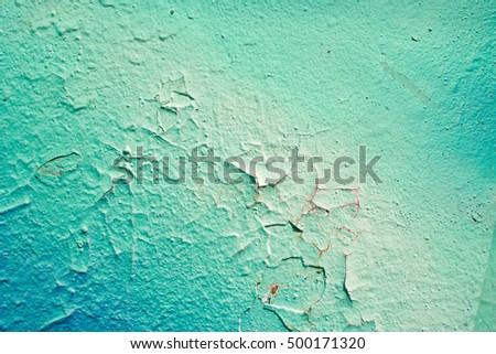 Painted Turquoise Color Graffiti Wall texture