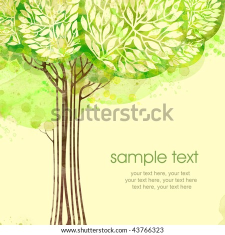 Painted watercolor card design with tree and text - stock photo