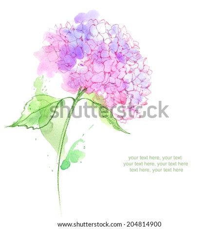 Painted watercolor card with hydrangea flower and place for text - stock photo