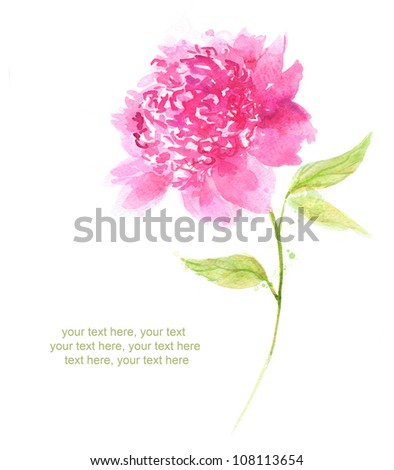 Painted watercolor card with peony and place for text - stock photo