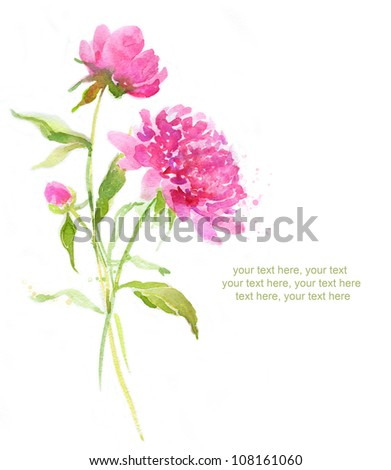 Painted watercolor card with pink peonies and place for text - stock photo