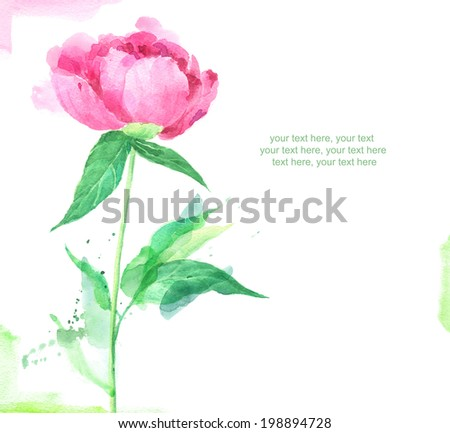 Painted watercolor card with pink peony and place for text - stock photo