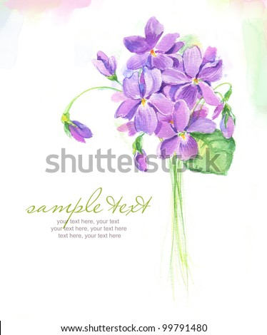 Painted watercolor card with spring violet flowers and text - stock photo