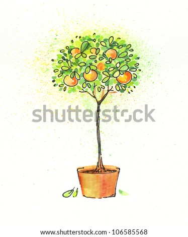 painted watercolor citrus tree in pot - stock photo