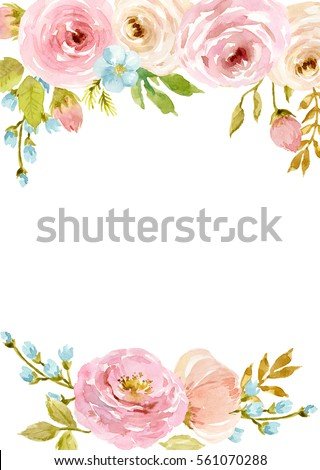 stock photo painted watercolor composition of flowers in pastel colors frame border background greeting 561070288