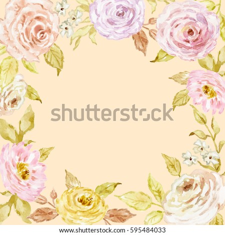 Painted Watercolor Composition Of Flowers In Pastel Colors Shabby Chic Vintage Frame