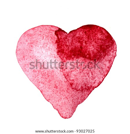 Painted watercolor heart, Valentine's Day card