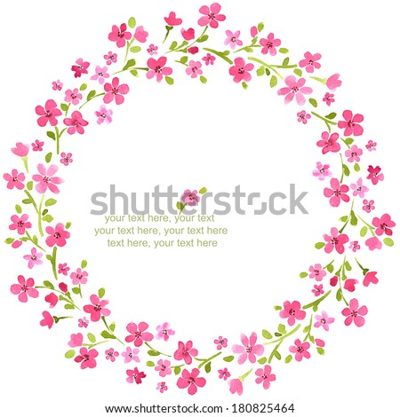 painted watercolor wreath of stylized spring cherry blossoms. - stock photo