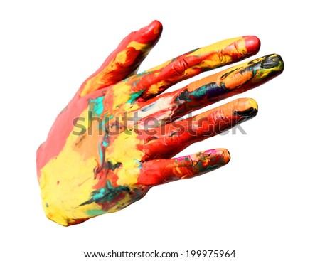 Painted wax hand, colorful fun. Isolated on white. - stock photo