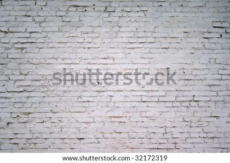 painted white brick wall - stock photo