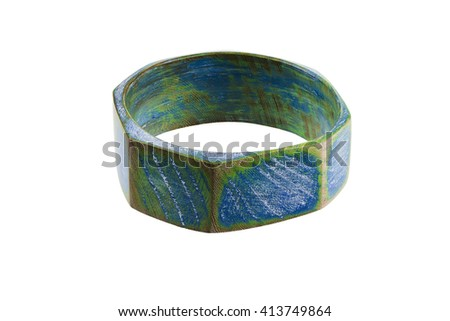 Painted wooden bangle bracelet. Colorful, distressed, handcrafted bangle. Isolated on a white background stock photo.