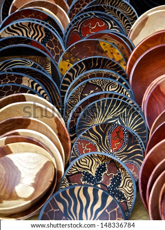 Painted wooden bowls in rows in South Africa