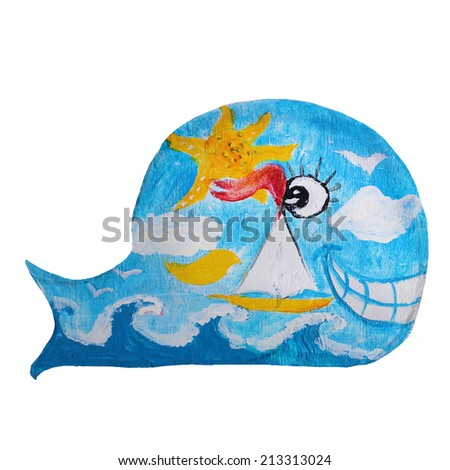 Painted Wooden Whale Toy - stock photo