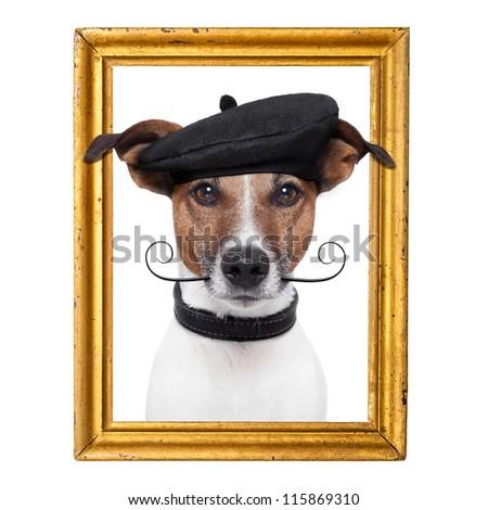 painter artist frame  dog - stock photo