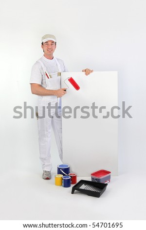 Painter holding a panel for message on white background - stock photo