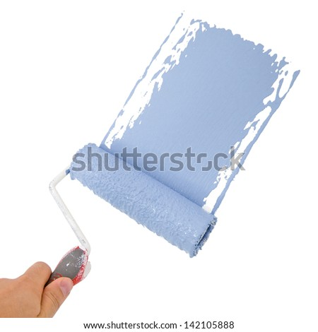 Painter holding a roller, painting in blue - stock photo