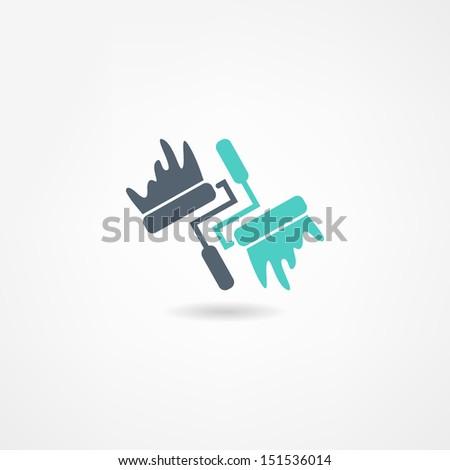 painter icon - stock photo