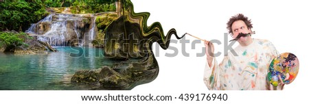 Painter paints the beautiful idyllic scenery. Artist draws a picture of an ideal world. The painter's inspiration to paint Paradise on earth. - stock photo