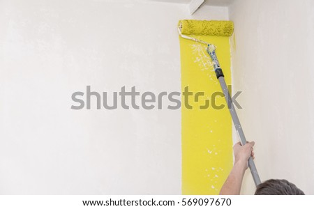 Painter Use Paint Roller On White Stock Photo (Download Now ...