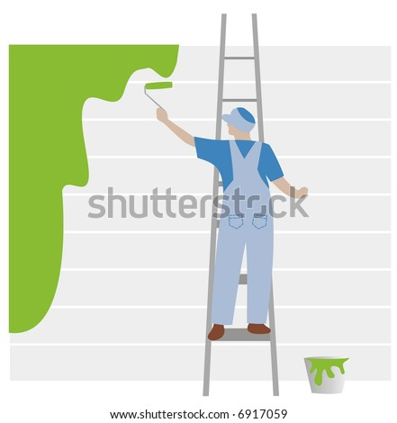 Painter with blue cloth painting in green color - stock photo