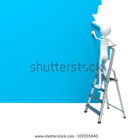 Painter Worker Standing on Ladder Paints a Wall. - stock photo