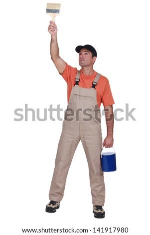 painter working - stock photo