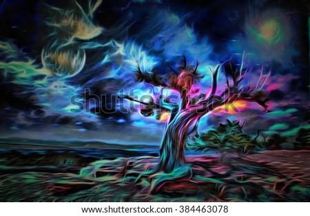 Painterly Desert Tree - stock photo