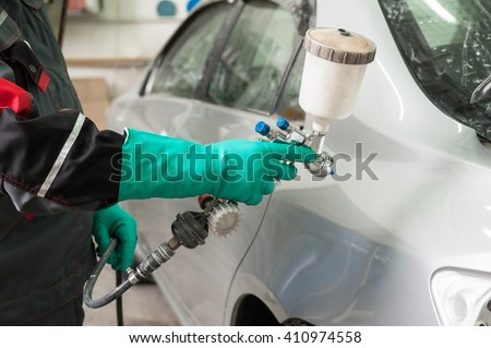 painting a car  - stock photo