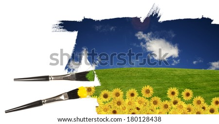Painting a summer landscape with summer blue sky  - stock photo