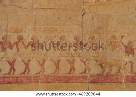 Painting and craft work that told the story on the ancient wall in Egypt.