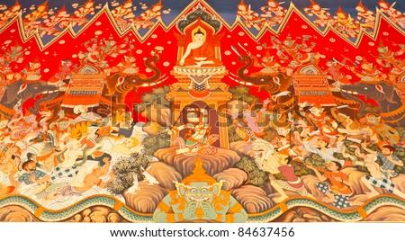 painting design about Buddha history at wall of Pra ya mai Temple's church in Ratchaburi,Thailand - stock photo