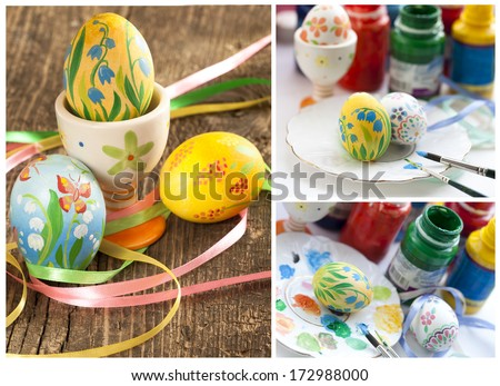 painting Easter eggs - stock photo