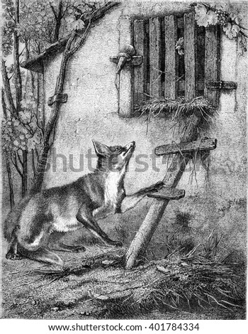 Painting Exhibition of 1857, The Fox and the Grape, vintage engraved illustration. Magasin Pittoresque 1857. - stock photo