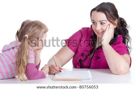 painting fat woman and little blond hair girl - stock photo
