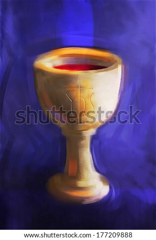 Painting illustration of a communion chalice with Christogram (chi-ro) engraved on cup. Bright colors and bold brushstrokes with textured canvas evident.