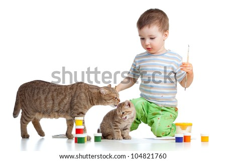 painting kid with mother and child cats