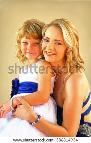 Painting Lovely blond mom and daughter studio pose